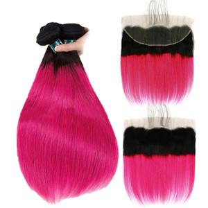 Розово - красный ломбер волос ткет с кружевом фронтальной закрытия темные корни бразильские девственные волосы 3 пучка сделок прямо с фронтальной кружева 4 шт. / лот
