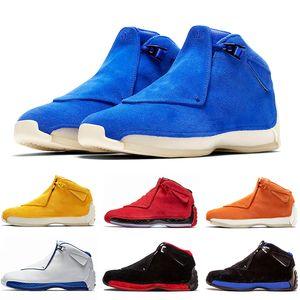 En moda 18 s Toro Spor Kırmızı Süet Spor Kraliyet Erkekler basketbol ayakkabı mavi siyah beyaz kırmızı 18 s erkek Spor ayakkabı eğitmenler Sneaker US8-13