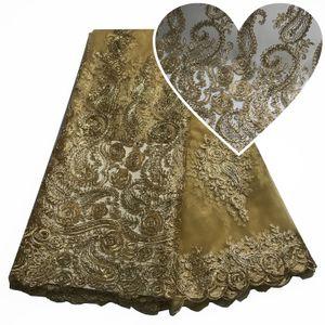 2020Gold Tópico vestido de alta qualidade francesa Africano Tulle Lace Tecido suíço Voile Lace Na Suíça nigeriano Lace Bordados casamento 5 Yards