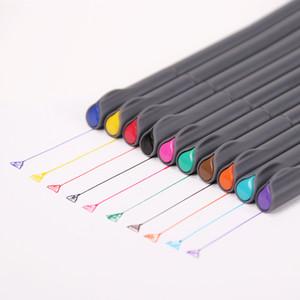 10 Pçs / lote Multicolor Linha Fina Caneta De Desenho para o Projeto de Publicidade Dos Desenhos Animados Cor Água Canetas 0.38mm Crianças Pintura Suprimentos