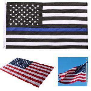 Bandera de la raya de la línea azul de 90 * 150cm Banderas de policía Bandera de raya roja de los Eeuu con Banderas de la bandera de la estrella WX9-219