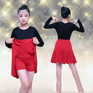 Enfants Spandex Long Sleeve Dance Tops Enfants Latin Dance Jupe Latin Rumba Performance Test Compétition Standard Dress