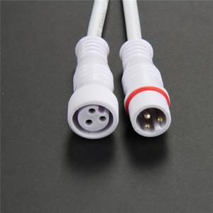 Envío gratis 5 pares 3core 3Pin núcleo cable tira de led cable conector macho a hembra cable coleta impermeable línea blanca