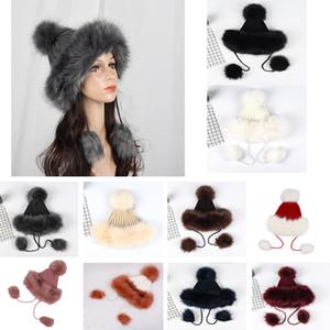 امرأة الشتاء محبوك قبعات فو الثعلب الفراء الكرة قبعة سميكة الدافئة الصوف متماسكة الشعر الكرة pompom غطاء للأذان القبعات الفتيات الإناث تزلج كاب