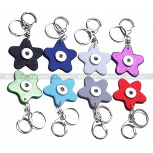 Star PU Leather Snap button Keychain DIY Noosa 18mm snap Button Key Rings Snap Keyring Accessories Jewelry