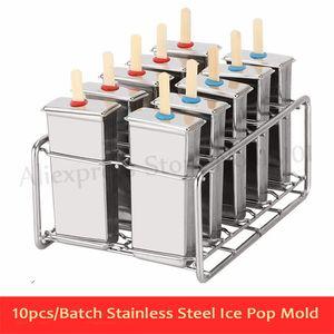 10 pcs / lot DIY Acier Inoxydable Crème Glacée Popsicle Moule D'été Glace Pops Maker Moules Porte-Bâton Plus Options
