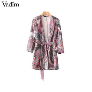 Vadim elegante paisley impressão solto kimono casaco blazer vintage ponto aberto cinto de gravata cinto de manga longa outerwear chiques casuais topos