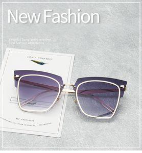 2018 Oversized Square Tint Cat Eye Sunglasses Women Rimless Brand Design Vintage Cool Flat Top Pink Sun Glasses