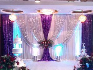 3 Mt * 6 Mt ice silk hochzeit hintergrund vorhänge mit silber Pailletten Drapieren swag für Hochzeitsdekor Prop Hintergrund Dekorationen DHL LLFA
