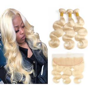 브라질 처녀 머리 613 금발 번들 정면 바디 웨이브 8A 처리되지 않은 인간의 머리 직조 3 번들 폐쇄 머리 확장