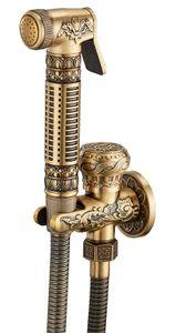 Tutamak Bide Seti Shattaf Bezi Bezi Pirinç Püskürtme Combo Set Tuvalet T-adaptörü Ve Hortum ile Antik Pirinç