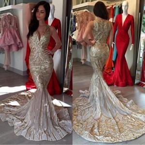2018 Luxe Spécial Or Sirène Robes De Bal V Cou Paillettes Sexy Africain Robes De Bal Femmes Robes De Soirée Soirée Arabe
