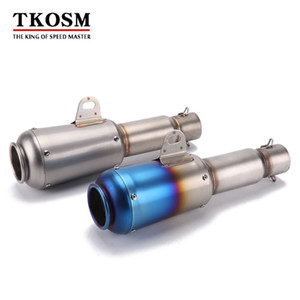 TKOSM Motorcycle scooter exhaust muffler pipe 51mm Akrapovic Refit Stainless Extended Exhaust Muffler Tail Pipe Universal for Motorcycle ATV