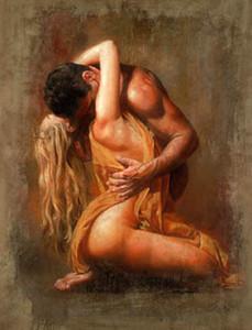 Handbemalte HD-Druck Porträt Kunst-Ölgemälde Akt starken jungen Mannes mit seiner Freundin auf Leinwand Büro-Wandkunst Kultur p320