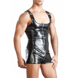 New PU Leather Men Sexy Bodysuit Faux Latex Male Erotic Jumpsuit Club Stage Costume Gays Sex Lingerie Adult Products