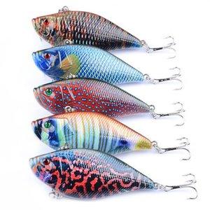 5 Pcs Lot Colorful Painted Laser VIB Carp Fishing lures bait 3D Eyes Vibes Shallow Sinking Artificial Vibe Fish lure 4# Hooks Wholesale