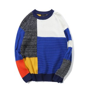 Mens Personality Stitching color Hip hop Sweater High quality Cotton Loose Streetwear Casual Oversized Mens Pullover