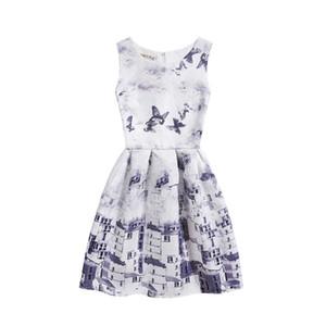 Farfalla fiori stampati abito vest vestitino per grandi ragazze senza maniche girocollo abiti estivi bambini gonna Junmper 130-160 cm