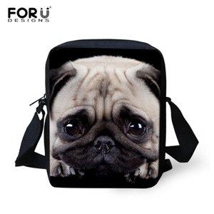 FORUDESIGNS 2018 Pug Dog Mini Messenger Bag Ladies Ladies Bolsas de Hombro Custom you Name Mujeres Cross Bag Kids Gift Bags Bookbag
