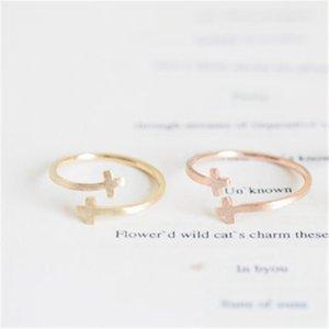 2018 FashionThe последние элементы железа Иисус боком двойной крест манжеты палец религиозные золотой цвет кольца для женщин