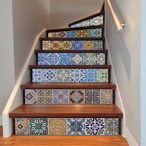 6 pçs / set 3d escada adesivos telha diy cerâmica padrão geométrico para escadas do quarto diy decoração início piso adesivo de parede