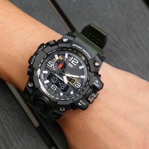 Mens Sports Melhor venda de relógios LED Moda 2019 de verão ao ar livre Digtal Choque relógios de quartzo Mens Movimento Japão Dual Display Analog Clock
