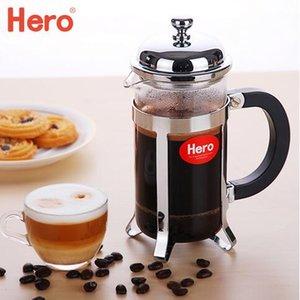 CHINAhero columna de émbolo de acero inoxidable para el hogar cafetera de café Método francés de olla a presión cafetera de té de vidrio francés Press 0.8L