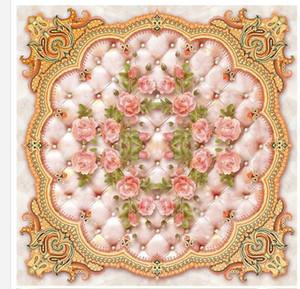 Modern Custom 3D Floor Mural europeo rosa morbida borsa in marmo rilievo 3D piastrelle di piastrelle di piastrelle in PVC carta da parati autoadesivo Murale