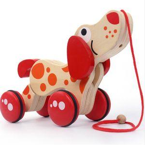 Trascinatore in legno Car Tractors Animal Puppy Coccodrillo Forma Kids Baby Puzzle Educativi infantili precursioni Diecasts Giocattoli Veicoli