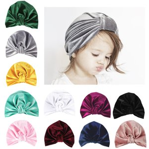 Müslüman Elastik Çocuk Kız Kadife Düğüm Turban Hat Bandı Hairbands Beanies Kap Şapkalar Wrap Kaplama Saç Aksesuarları