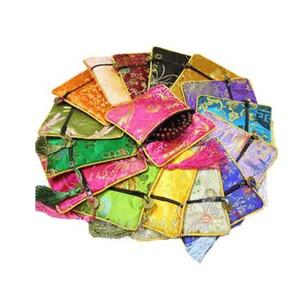 Barato borla pequeña bolsa de regalo de la cremallera monedero de seda collar de la joyería de satén bolsa de embalaje del banquete de boda Favor 8pcs / lot