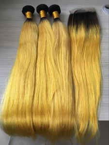 Pacchi di capelli indiani grezzi 3 con chiusura Ombre capelli lisci gialli con chiusura 100% capelli umani fasci di pacchi
