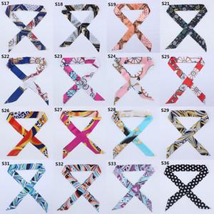 100*4cm 44 colors 100pcs High-end woman Fashion Designs Tied Bag Scarf ladies Small Bow Ribbon Headscarf Silk Scarves Wrap