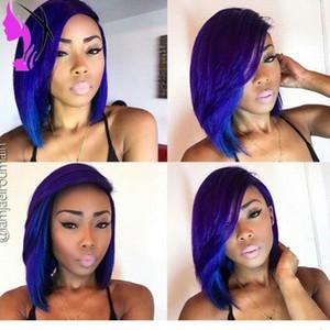 Auf natürliche Optik mit zwei Tönen ombre kurzen Perücken für Frauen blauer Farbe Spitzefront bob Perücke Hitze synthetisches Haar-freies Verschiffen
