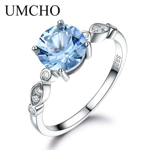Umcho Sky Blue Topaz Anillo de plata Femenino Sólido 925 Anillos de plata esterlina para mujeres Banda de boda Birthstone Aquamarine Gemstoney1882701