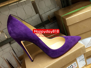 Envío gratis mujeres de moda bombas de cuero de gamuza púrpura punta del dedo del pie zapatos de tacón delgado zapatos de cuero genuino 120mm 100mm real photo