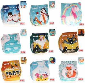 Bebê Fraldas Reutilizáveis Pano Infantil Lavável Unicórnio Dos Desenhos Animados Animal imprimir Fralda Capa Crianças de Natal Do Dia Das Bruxas Fraldas Tamanho Único
