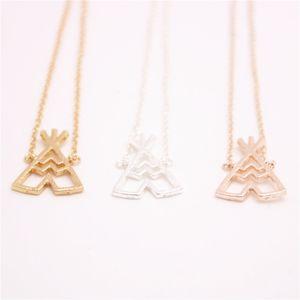 Colares de pingente de tenda de moda muito bela colares de pingente de tenda geométrica para mulheres Um vintage colares de colmo de casa de campo