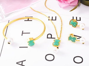 2018 Trendy sell Stainless Steel natural gem pink quartz green blue agate stones handmade gift Jewelry bears women earring necklace bangle