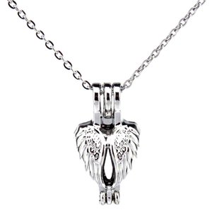 Silver Heart Shape Feather Hollow Oil Diffuser Locket Women Aromatherapy Beads Pearl Oyster Cage Necklace Pendant-Boutique gift