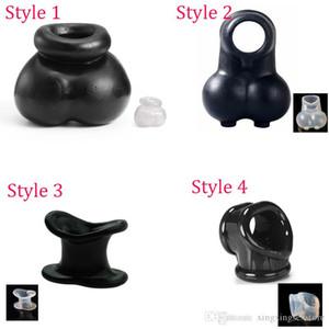 4 stili Spremere sfera Enhancer Chastity Cage scroto Pouch, Time Delay anello del pene Cock Ring prodotti adulti del sesso dei giocattoli del sesso per gli uomini