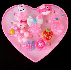 Anéis de conjuntos de jóias infantis linda Anéis dos desenhos animados do bebê crianças Rings for Girls Flower Mix Set Anel animal dos desenhos animados Dedo Jewery