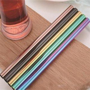 Pailles réutilisables de thé de bulle de 12MM, pailles droites en métal plaquées par 12mm de PVD, pailles colorées par 12MM pour le smoothie