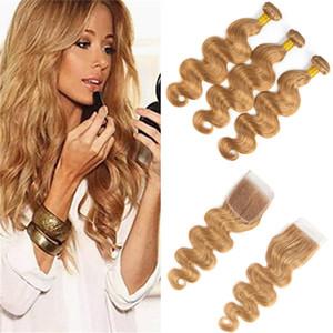 Virgin Hair Body Wave brasileño 3 paquetes con cierre 27 # Paquetes de cabello rubio con cierre de encaje 4x4 Venta al por mayor Tramas de cabello humano brasileño