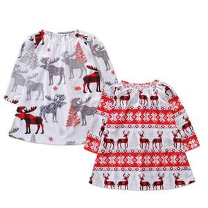 Рождество девочки платье дети Рождество олень лось печати принцесса платья 2018 осень мода детская одежда 2 цвета C5318