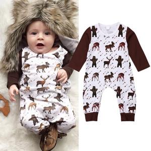infantil del bebé muchachas de los animales renos de manga larga pijamas traje de mameluco cómodo de Navidad playsuit cabritos del bebé mamelucos de la ropa recién nacidos 0-24 M