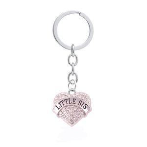 Amante de cristal Coração Sis Família Irmã Melhores Amigos Charme Coração Pingente Chaveiro Jóias Mulheres Keychain