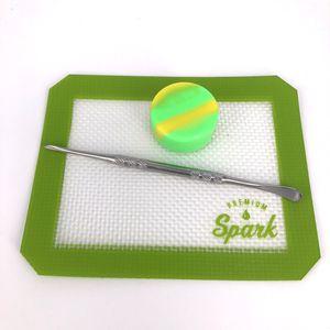 Silikon Balmumu dab mat pad ile kare levhalar pedleri dabber aracı kuru ot dab kavanozlar için balmumu konteyner