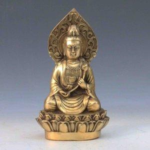 Chinese Antique Brass Mão-carved estátua de Guanyin Dinastia Qing