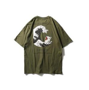 조수 브랜드 T 셔츠 남성 일본 빈티지 하라주쿠 인쇄 T 셔츠 라운드 넥 반팔 T 셔츠 여가 학생 티